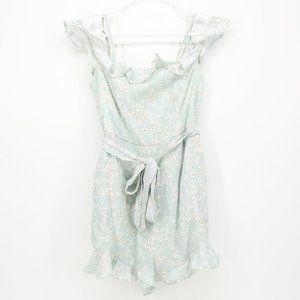 Lyon Baby Blue Floral Ruffle Romper Dress